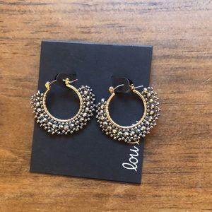 NWOT Lou Lou Silver Hoop Beaded Earrings